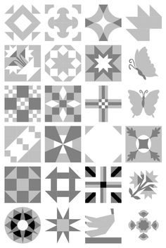 In my first blog post as one of the EQ Gurus (The EQ Dozen) I selected some blocks, almost at random, to use in a series of virtual quilt designs.    Think they might look a little more unified if I take all the colour away.    Without the distracti
