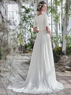 Maggie Sottero Lyliette Sophisticated with a touch of whimsy, this elegant A-line wedding dress offers a lace bodice, intricately beaded belt at the waist, 2 Piece Wedding Dress, Perfect Wedding Dress, Dream Wedding, Maggie Sottero Wedding Dresses, Wedding Bridesmaid Dresses, Modest Wedding, Bridal Gowns, Wedding Gowns, Plus Size Wedding Dresses With Sleeves