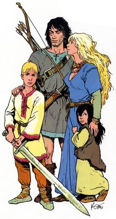 One of my favourite comic books: Thorgal, by the writer Jean Van Hamme and the graphic artist Grzegorz Rosinski. The series tells the story of Thorgal Aegirsson, whose family's spaceship crashed on Earth when he was a newborn, and who was raised by Vikings. The picture represents his family: his wife Aaricia, his son Jolan, and his daughter Louve (the French word for she-wolf).