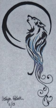 """By Ashlyn. """"The wolf represents how the Lunars are fierce warriors and how Queen Levana's warriors are a mix of wolf and human. The wolf's fur changes into a beautiful swirl design. This represents the Lunar's gift. They are able to make others think they are beautiful, when they are monsters underneath. The reason the wolf is howling at the moon is because the moon is the homeland of the Lunars and they are loyal to their country."""""""