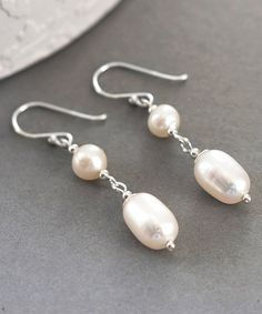 Look at this Pearl & Sterling Silver Double Drop Earrings on #zulily today!