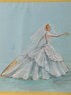 "Elois Jenssen wedding dress costume sketch for Lucille Ball as ""Susan Vega"" in Forever Darling. (MGM, 1956)"