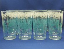 12 Turquoise & White Decorated Tumblers Early American Colonial Motifs