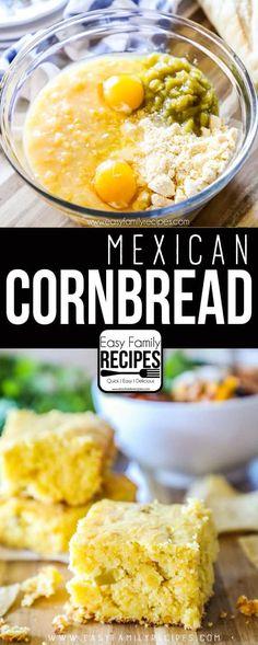 mexican cornbread recipe ~ mexican cornbread _ mexican cornbread casserole _ mexican cornbread jiffy _ mexican cornbread recipe _ mexican cornbread easy _ mexican cornbread with ground beef _ mexican cornbread casserole jiffy _ mexican cornbread muffins Easy Mexican Cornbread, Easy Cornbread Recipe, Cornbread Casserole, Cornbread Muffins, Mexican Corn Bread Recipe, Easy Mexican Food Recipes, Easy Mexican Dishes, Corn Muffins, Easy Recipes