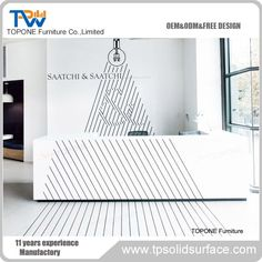 White U shape reception desk factory. Warmly welcome to visit us. Reception Desk Design, Reception Counter, Bar Counter, Corian Solid Surface, Dinner Table, Kitchen Countertops, Free Design, Office Desk, Shape