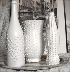 Shabby Chic Modern Upcycled Bottle White Studded by ArtsandClassy, $22.00