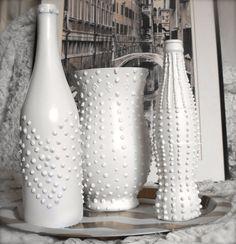 Shabby Chic Modern Upcycled Bottle White Studded by ArtsandClassy, $22.00