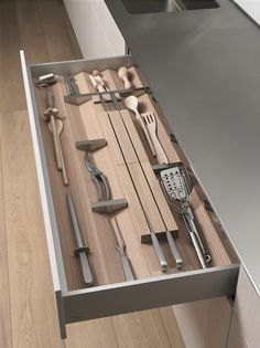 | KITCHEN | ORGANIZATION | #bulthaup #drawer unit | #kitchen organization