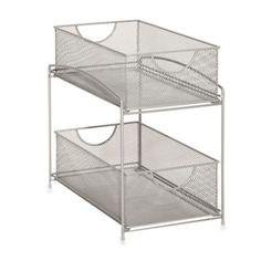 For under sink: .ORG 2-Tier Mesh Steel Mesh Double Sliding Cabinet Basket in Silver - BedBathandBeyond.com