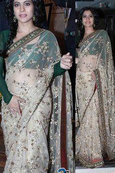 USD 108.62 Kajol Brown Net Bollywood Saree 34581
