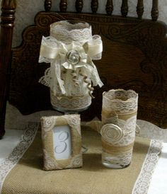 Burlap wedding table decorations, Burlap table number frame, rustic elegance country chic, french country, shabby chic weddings. $7.00, via Etsy.