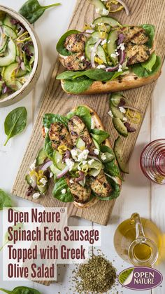 Open Nature® Spinach Feta Sausage Topped with Greek Salad has all of your favorite Mediterranean flavors you love! Make this BBQ favorite in as little as 20 minutes. Spinach Feta Chicken, Spinach And Feta, Grilling Ideas, Grilling Recipes, Aidells Chicken Sausage, Sausage Recipes, Beef Recipes, Olive Salad, Greek Salad Recipes
