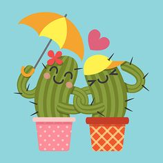 the loving couple of cactus arm in arm