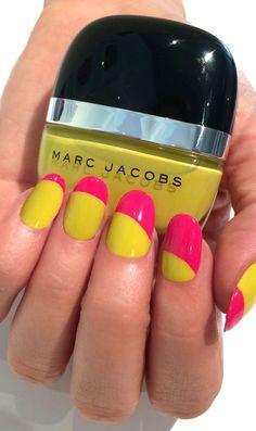 Neon nail inspiration: Marc Jacobs Beauty Assymmetrical Half Moon featuring shades Shocking and Lux #Sephora #SephoraNailspotting #nails #nailpolish