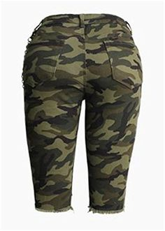 c9c94620ec9e7 Cromoncent Womens High Waist Camouflage Distressed Cutoff Sheath Stretch  Shorts