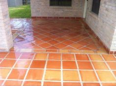 """Saltillo Mexican Terracotta Tile accented by """"Bullnose"""" Baseboard Terracotta Tile Baseboard, Baseboards, Terracotta Tile, Spanish Tile, Spanish Style Homes, Cottage House Plans, Floor Patterns, Tile Flooring, Floors"""