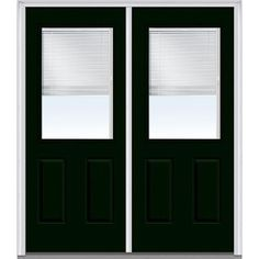 Milliken Millwork 62 in. x 81.75 in. Classic Clear Glass RLB 1/2 Lite 2 Panel Painted Majestic Steel Exterior Double Door, Hunter Green