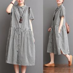 "Black white grid long dresses ""Discover thousands of images about Causal Grid Dress Summer Women Clothes – FantasyLinen"", ""Copy of Green Grid Loose Dres Linen Dresses, Cotton Dresses, Denim Dresses, Blouse Dress, Dress Skirt, Dress Red, Chemise Dress, Cotton Long Dress, Mode Hijab"