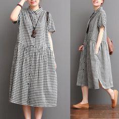 Causal Grid Dress Summer Women Clothes Q0707