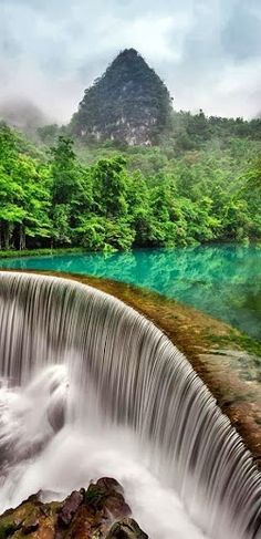 Xiaoqikong Waterfall In Libo Guizhou / Quizhou, China