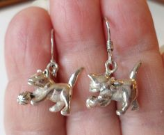 Sterling Silver 925 Stamped, Playing Cat Dangle Earrings. by Bestintreasures on Etsy