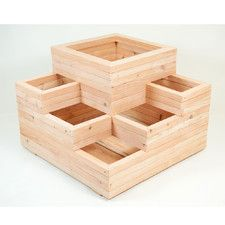Spiral Wooden Rectangular Planter
