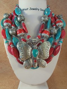 Cowgirl Necklace Set - Chunky Aqua and Red Howlite Turquoise with Handcrafted Butterfly Pendant - pinned by pin4etsy.com