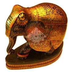 WOODEN ELEPHANT VERY FINE GOLD PAINTING HOME DÉCOR 20X21 CMS