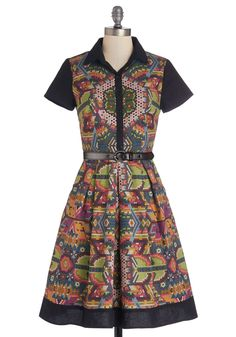Shimmer Camp Dress. Your summer is spent mentoring aspiring young artists at art camp, and you often sport this ModCloth-exclusive dress created by Suzana Harcum, a freelance illustrator, for the Make the Cut: Go With the Boho contest! #multi #modcloth