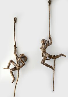 Contemporary metal wall art - Climbing woman sculpture on rope - wire mesh…