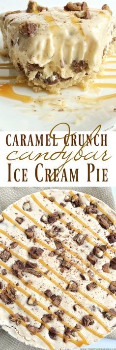 Caramel Crunch Candy Bar Ice Cream Pie - Together as Family #ad #SoHoppinGood #TopYourSummer @walmart @bluebunnyicecream