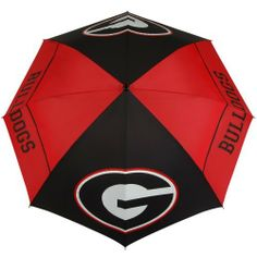 NCAA Georgia Bulldogs 62-Inch WindSheer Hybrid Umbrella by Team Effort. $39.90. Patented Wind-Release System allows wind to escape between upper and lower canopies preventing inversion during storms and high winds. Push button auto-open. Two-color 100% rubber handle with dual-density grip is designed to fit comfortably in your hand or securely in your push cart. 190T nylon cover and sheath in vivid collegiate team colors. 4 eye-catching collegiate trademarks p...