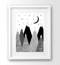 Mountain Print, Kids Room Decor, Black and White Art, Scandinavian Print, Downloadable Art by nanamiadesign on Etsy https://www.etsy.com/listing/246002734/mountain-print-kids-room-decor-black-and