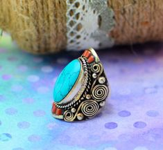 Tibetan RingNatural Turquoise ringBoho ringTibetan Statement ringBohemian ringNepali jewelryGypsy ringHippie ringGift for her by ZsTribalTreasures on Etsy