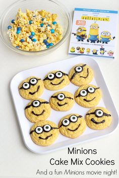 Easy Minions cake mix cookies and other party ideas for a fun movie night! #MinionsMovieNight #ad