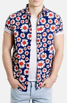 Topman Classic Fit Daisy Print Short Sleeve Shirt   Nordstrom