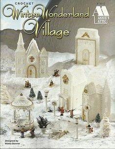 Winter-Wonderland-Village-Wilma-Bonner-Crochet-Thread-Patterns-Church-House-NEW