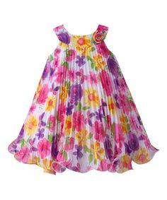 Pink & Lavender Floral Rosette Pleated Yoke Dress - Infant
