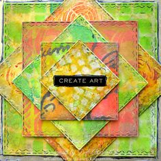 Paxton Valley Folk Art: Geometry Squared Mixed Media Canvas For A Vintage Journey