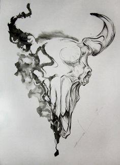 Bull Skull Drawings   Skull of a bull by ~Red-Rus on deviantART
