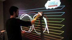 Interactive musical wall by HiWhim. Permanent interactive installation Interactieve muur waarbij men muziek kan maken door figuren te maken op de muur. Dit is een super leuk alternatief voor kinderen om zich te ontspannen. Maar het leuke aan deze interactieve installatie is dat zowel kinderen als volwassenen er plezier aan hebben!