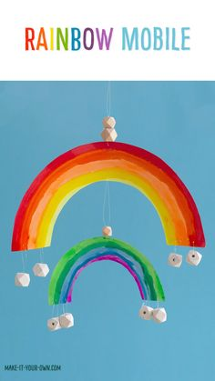 Rainbow Mobile - - We provide you with a free Rainbow template to make a wall hanging or mobile. This St. Patrick's Day craft is one that you can colour, paint, collage etc. with materials that you have at home! Paper Crafts For Kids, Craft Stick Crafts, Preschool Crafts, Plate Crafts, Yarn Crafts, Rainbow Paper, Rainbow Wall, Cake Rainbow, Rainbow Birthday