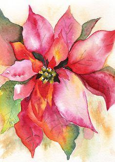 Christmas Poinsettia Watercolor Marsha Woods by Marsha Woods