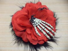 Rockabilly, Psychobilly, Pin Up Girl, Black, Feathers, Red, Rose, Flower, Halloween, Skeleton Hand, Spider, Hair Clip, Fascinator