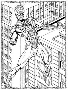 Super Hero Spiderman Coloring Coloring Stuff, Coloring For Kids, Adult Coloring Pages, Hero Spiderman, Spiderman Coloring, Kale, Line Art, Carpet, Ink