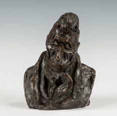 "Honore Daumier (French, 1808-1879) ""Baron Joseph de Podenas"" Bronze Sculpture"