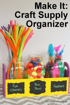 Mason Jar Craft Supply Organizer -- make this organizer quickly and get your craft supplies in order!