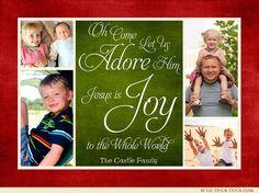 Multi Photo Joy Collage Christmas Card - Any Colors & Wording Christian Christmas Cards, Multi Photo, Collage, Rainbow, Joy, Words, Colors, Design, Rain Bow