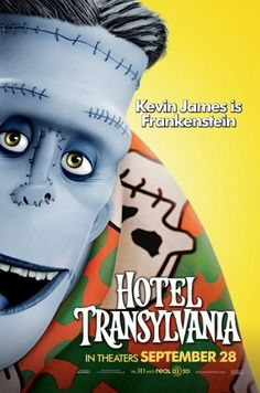 New character movie posters for 'Hotel Transylvania' featuring Dracula, Frankenstein, The Invisible Man and more. Hotel Transylvania Characters, Hotel Transylvania 2012, Animated Movie Posters, Animated Cartoons, Film Posters, Frankenstein Costume, Kevin James, Halloween Movies, Hotel Transylvania
