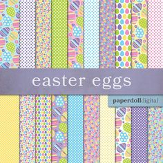 This pack includes twenty Easter digital papers in spring colors. Designs include spring flowers, Easter eggs and polka dots.  ------  This